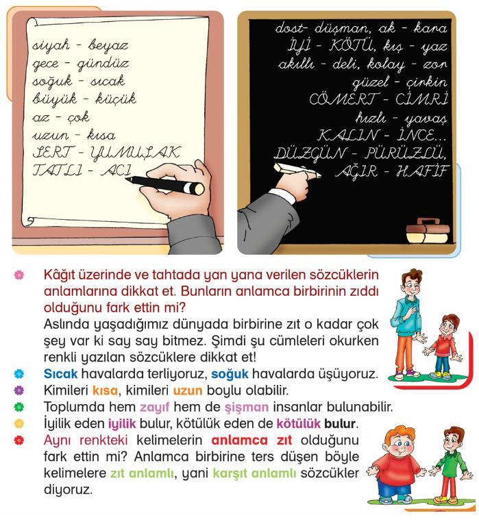 2 Sinif Turkce Zit Anlamli Sozcukler Konu Anlatimi